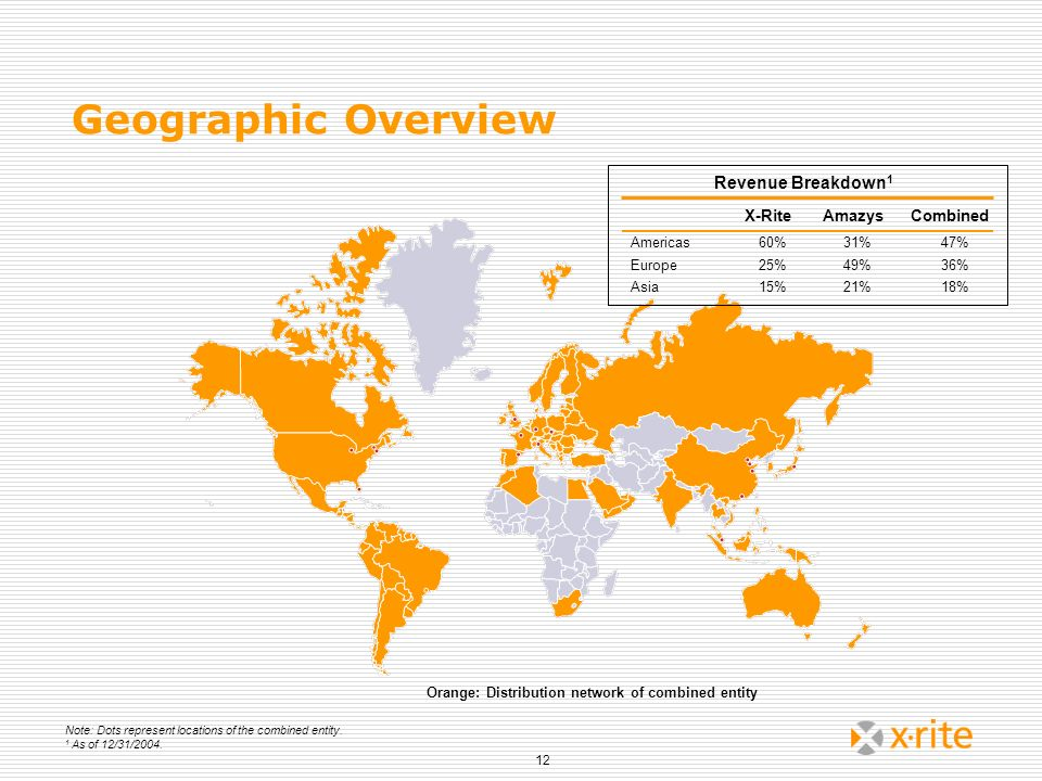 Geographic Overview Revenue Breakdown1 X-Rite Amazys Combined