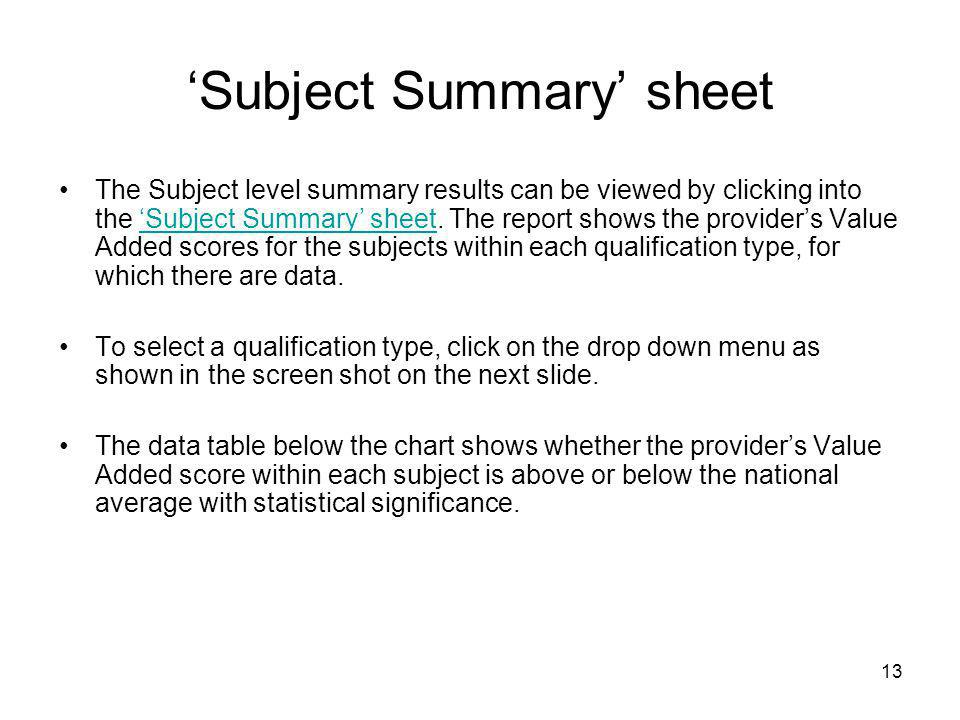 'Subject Summary' sheet