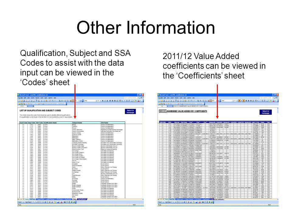 Other Information Qualification, Subject and SSA Codes to assist with the data input can be viewed in the 'Codes' sheet.