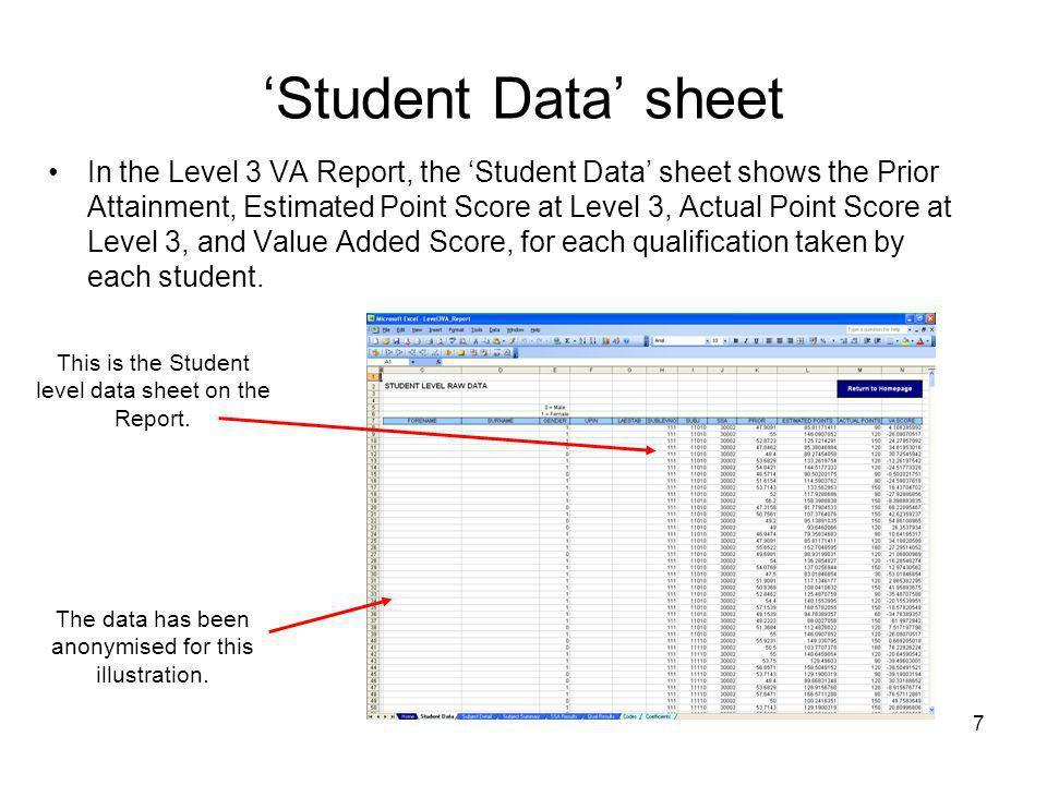 'Student Data' sheet