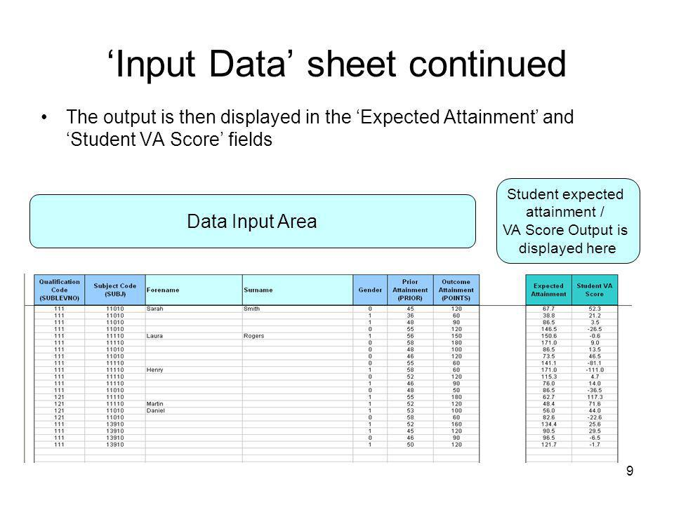 'Input Data' sheet continued