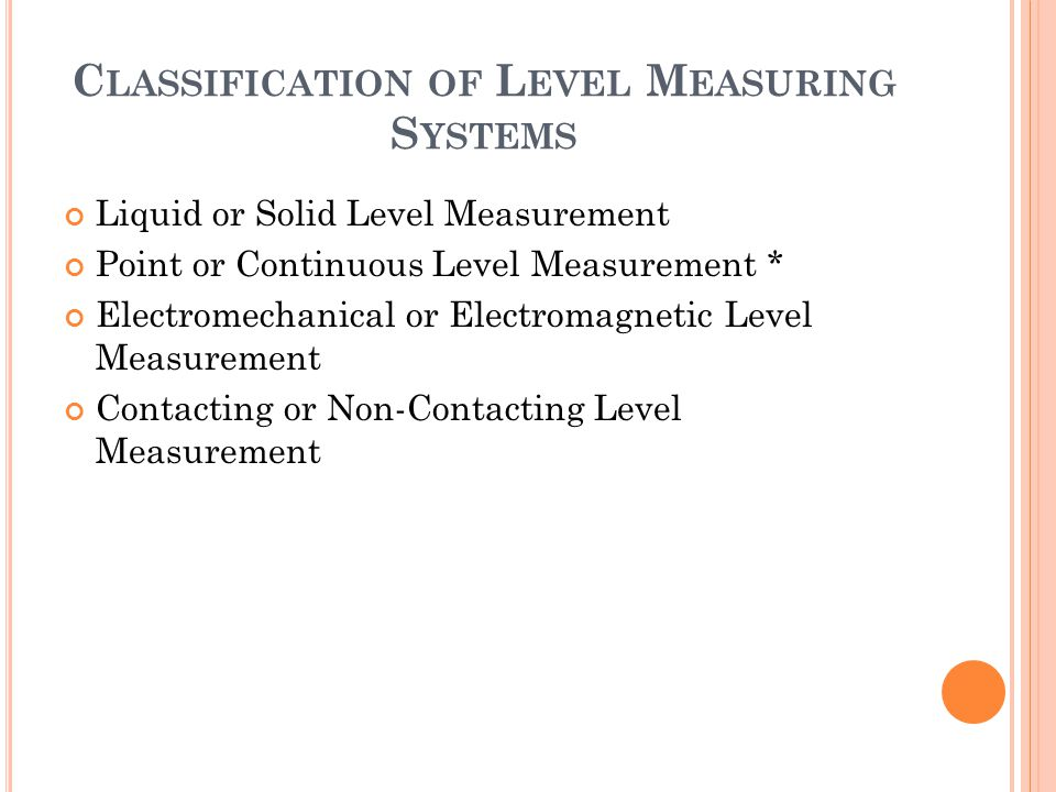 Classification of Level Measuring Systems