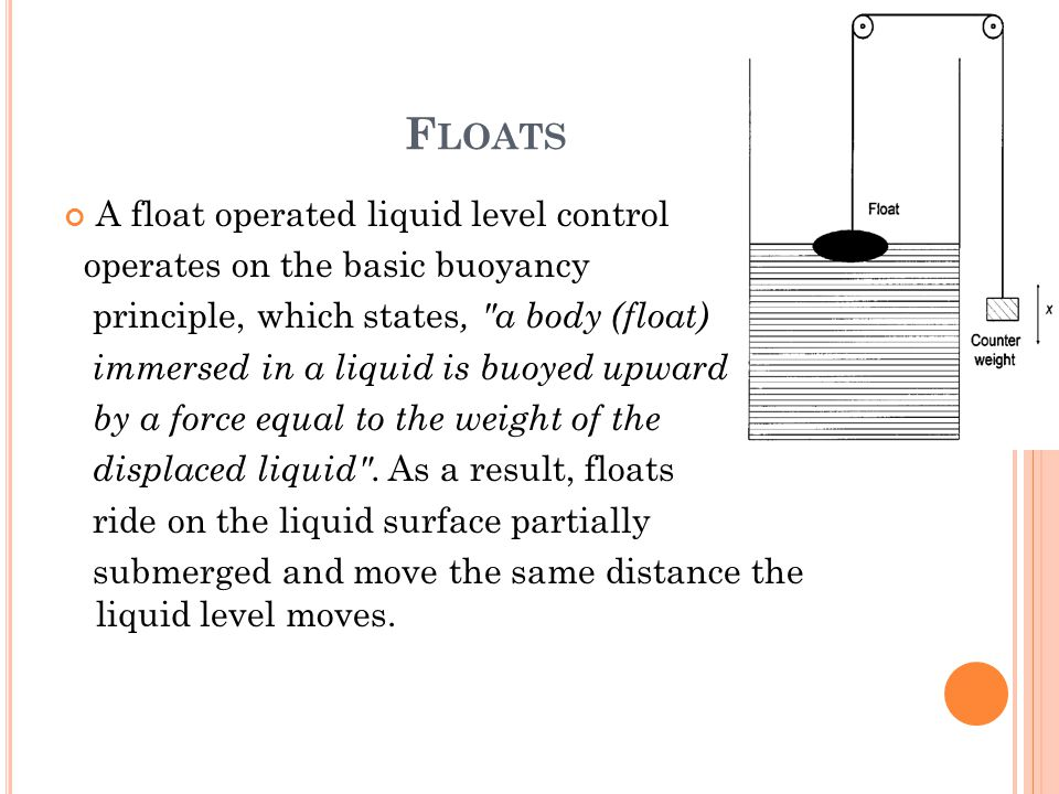 Floats A float operated liquid level control