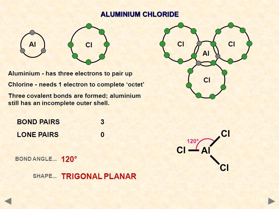 Cl Cl Al Cl 120° TRIGONAL PLANAR ALUMINIUM CHLORIDE Al Cl Cl Al