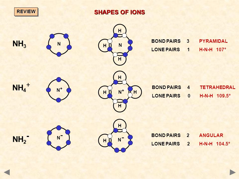 NH3 NH4+ NH2- SHAPES OF IONS REVIEW H BOND PAIRS 3 PYRAMIDAL N