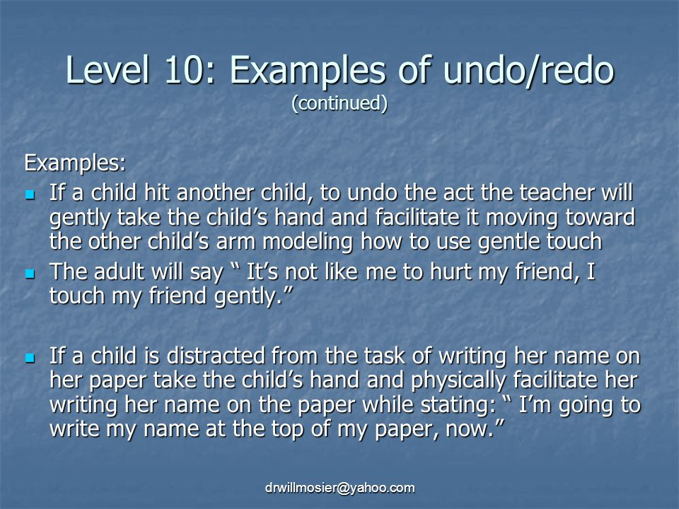 Level 10: Examples of undo/redo (continued)
