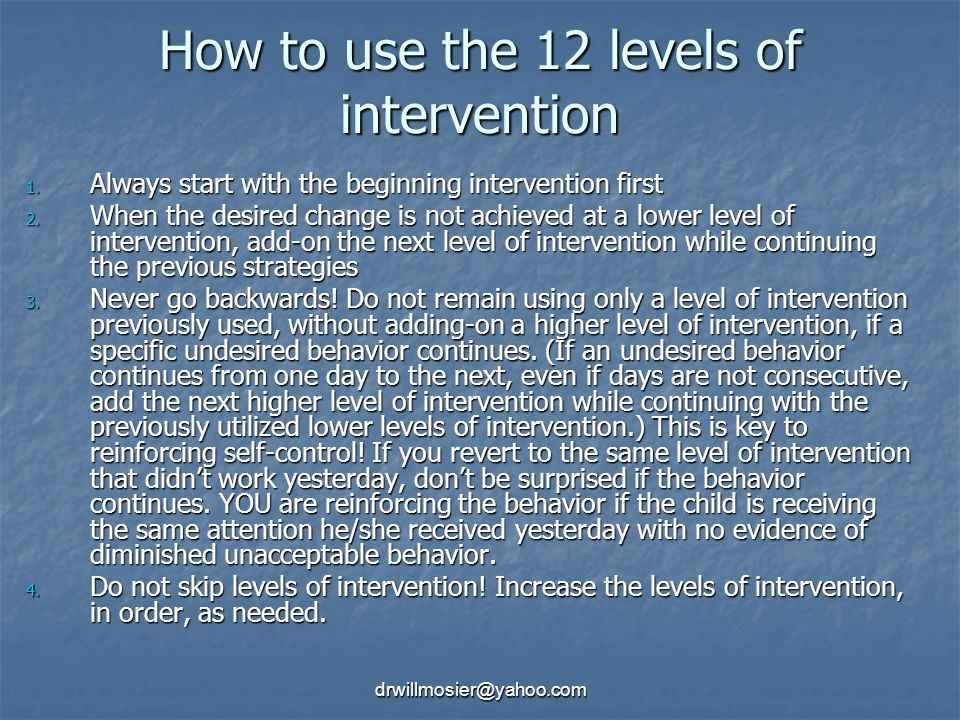 How to use the 12 levels of intervention