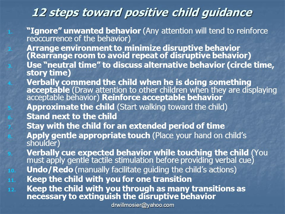 12 steps toward positive child guidance