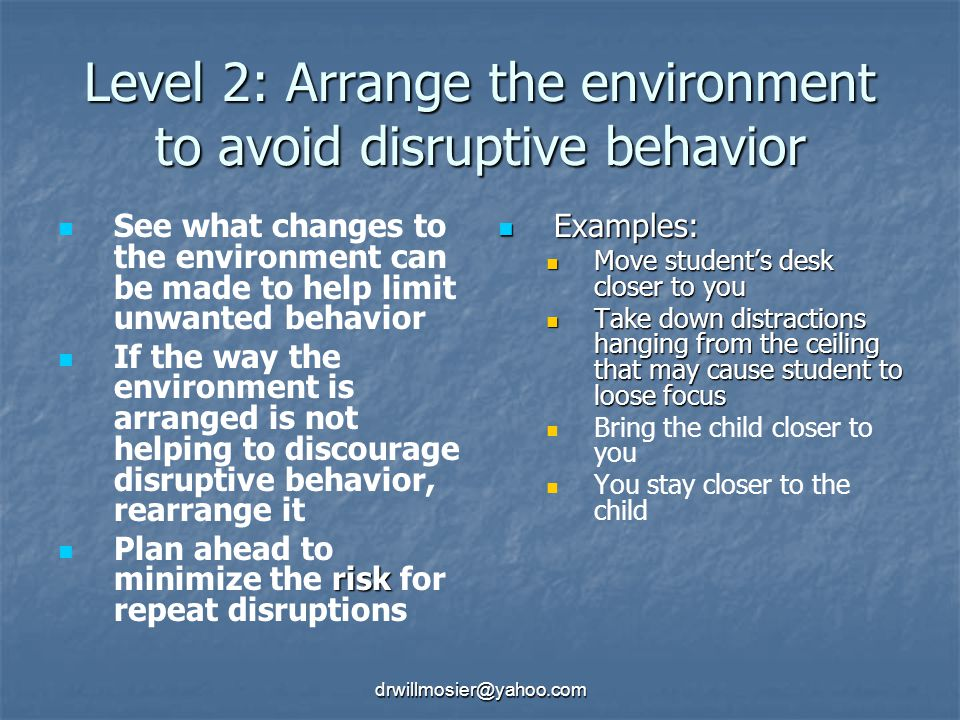 Level 2: Arrange the environment to avoid disruptive behavior