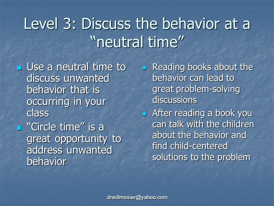 Level 3: Discuss the behavior at a neutral time