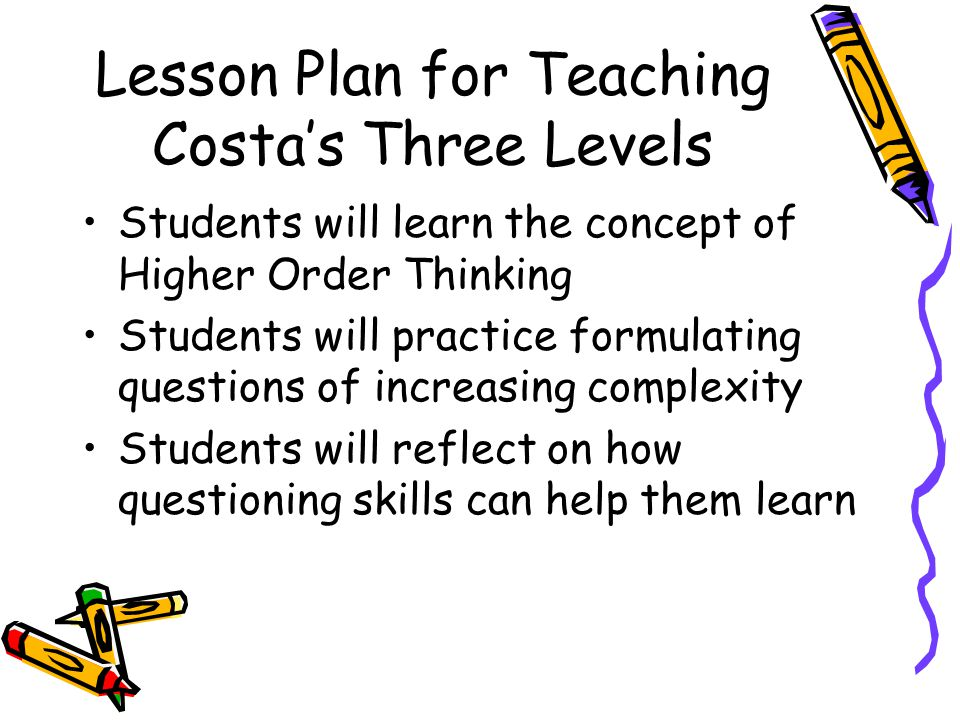 Lesson Plan for Teaching Costa's Three Levels