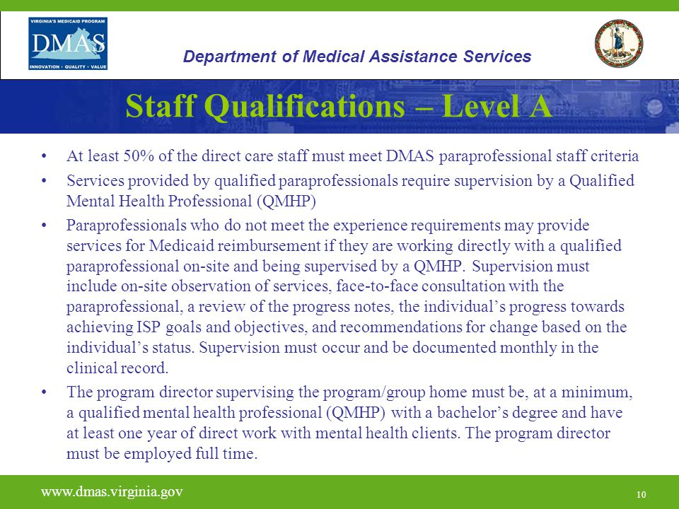 Staff Qualifications – Level A