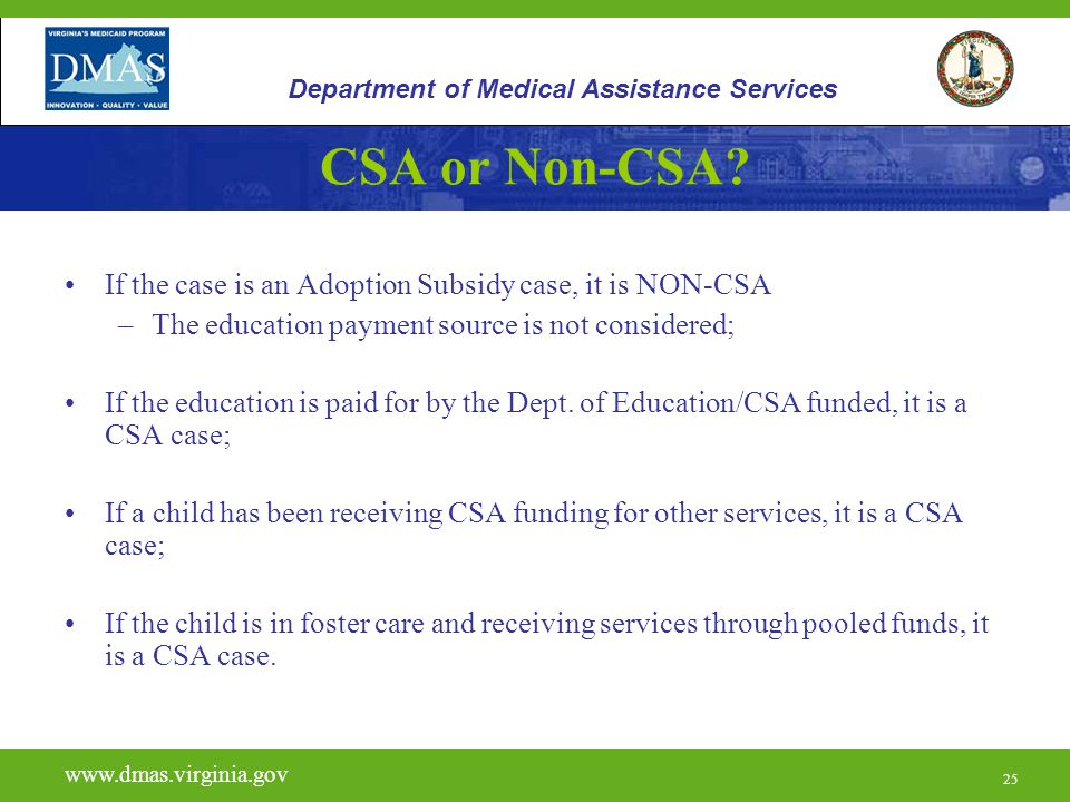 CSA or Non-CSA If the case is an Adoption Subsidy case, it is NON-CSA