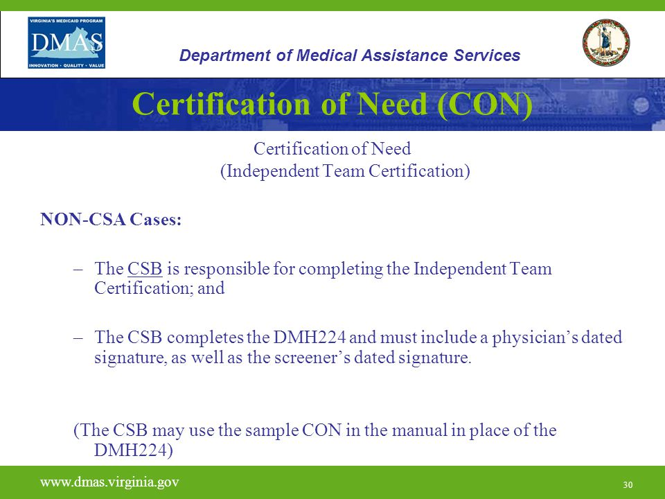 Certification of Need (CON)