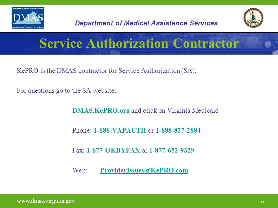 Service Authorization Contractor
