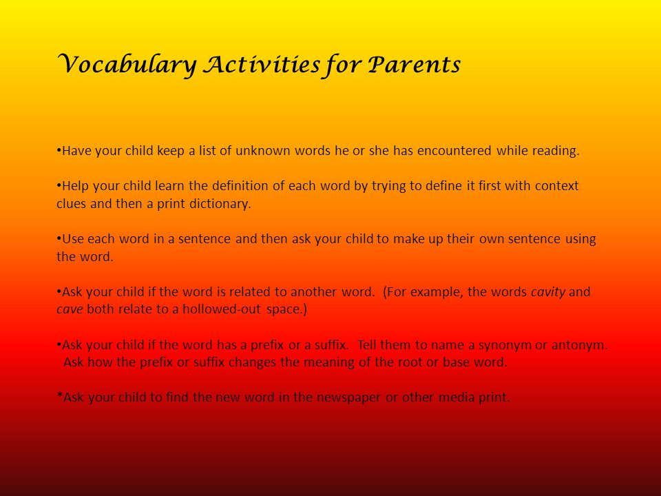 Vocabulary Activities for Parents
