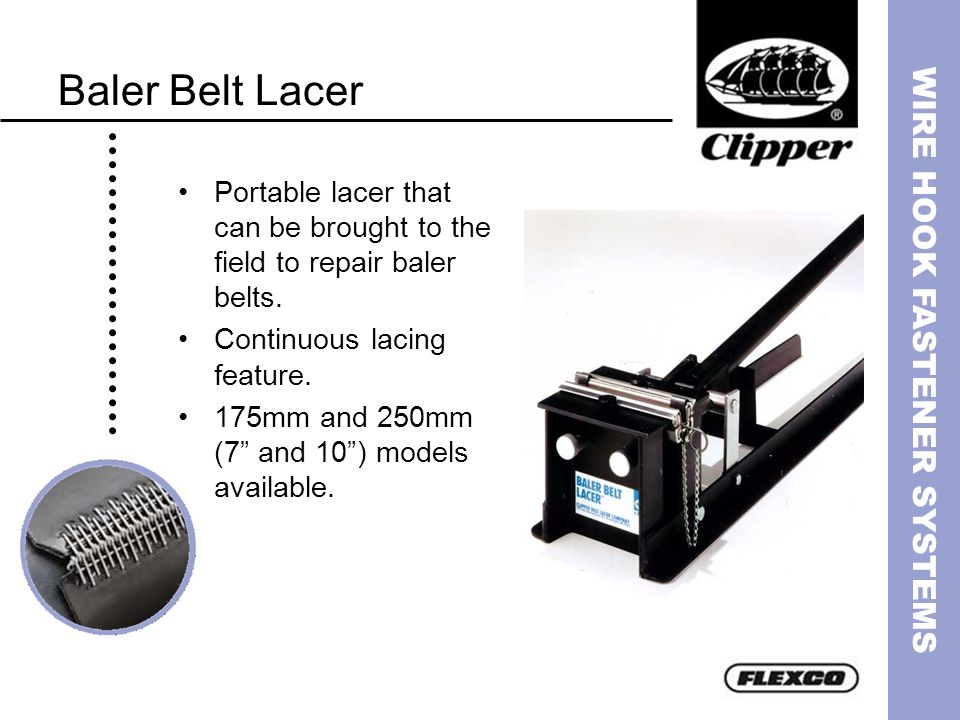 Baler Belt Lacer Portable lacer that can be brought to the field to repair baler belts. Continuous lacing feature.