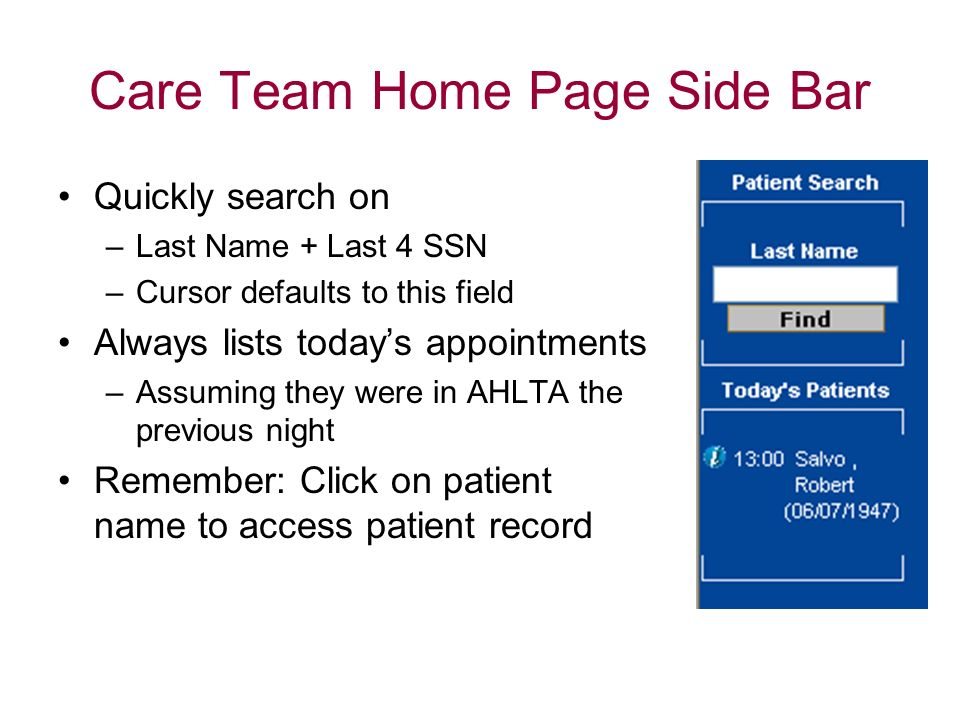 Care Team Home Page Side Bar
