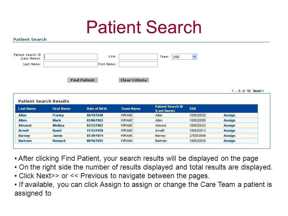 Patient Search Assign functionality is only available to users with Management or Admin rights.