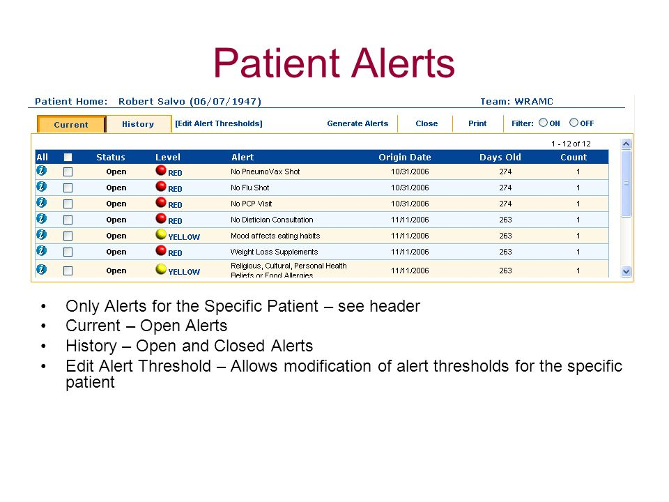 Patient Alerts Only Alerts for the Specific Patient – see header