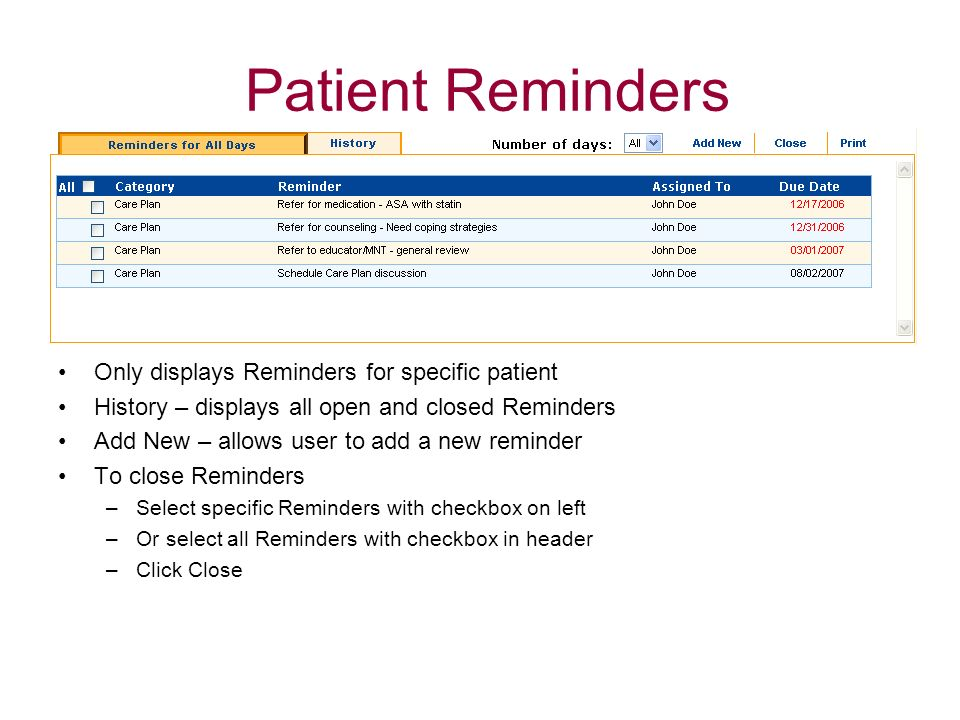 Patient Reminders Only displays Reminders for specific patient