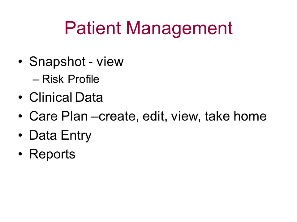 Patient Management Snapshot - view Clinical Data