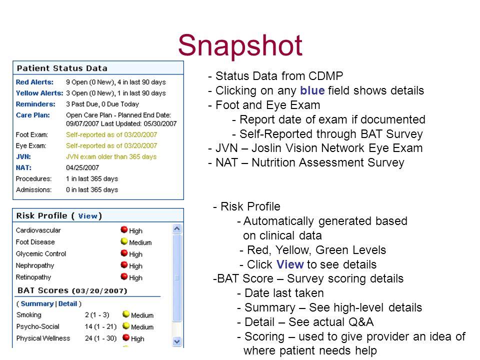 Snapshot Status Data from CDMP