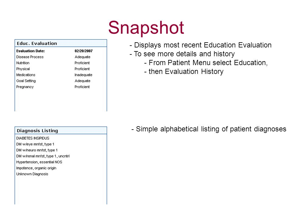 Snapshot Displays most recent Education Evaluation