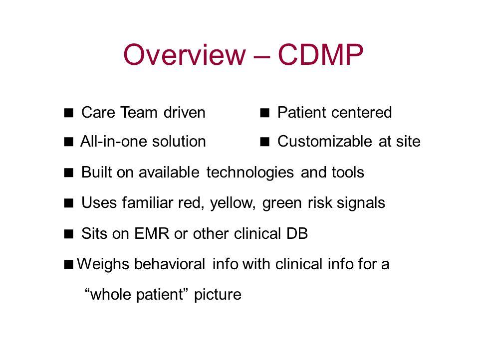 Overview – CDMP  Care Team driven  Patient centered