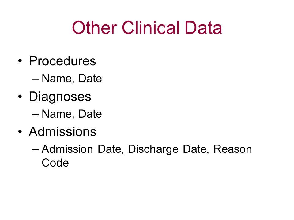 Other Clinical Data Procedures Diagnoses Admissions Name, Date