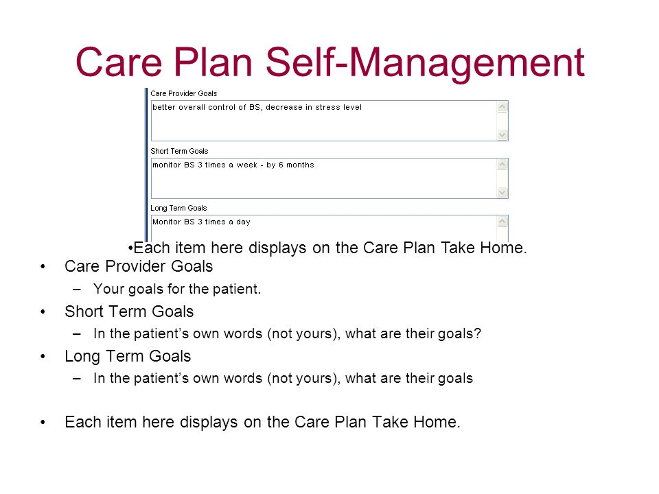 Care Plan Self-Management