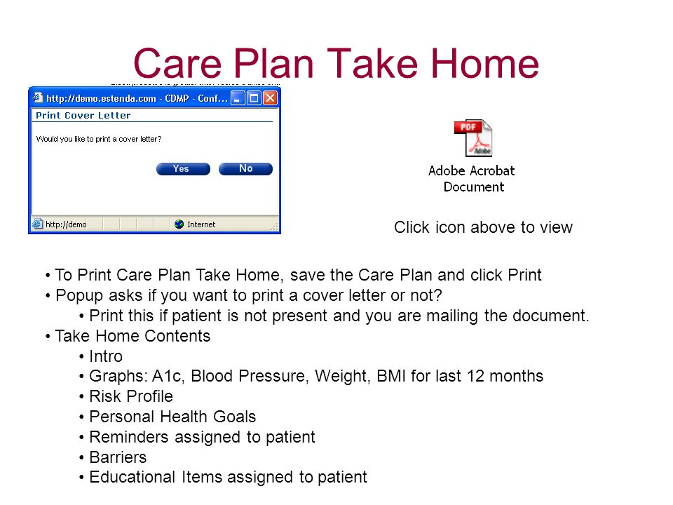 Care Plan Take Home Click icon above to view