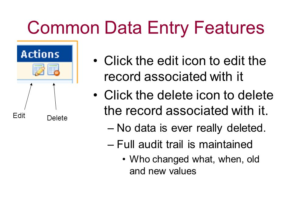 Common Data Entry Features