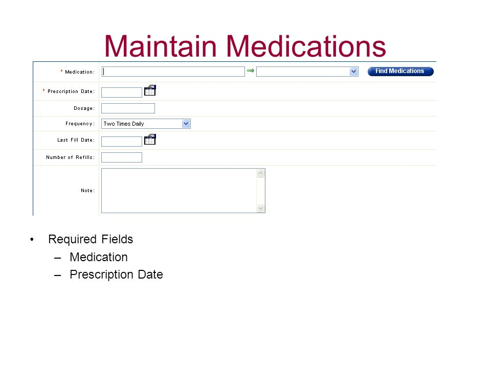 Maintain Medications Required Fields Medication Prescription Date