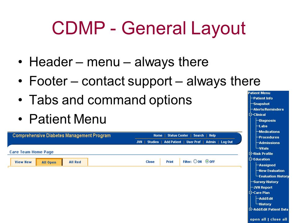 CDMP - General Layout Header – menu – always there
