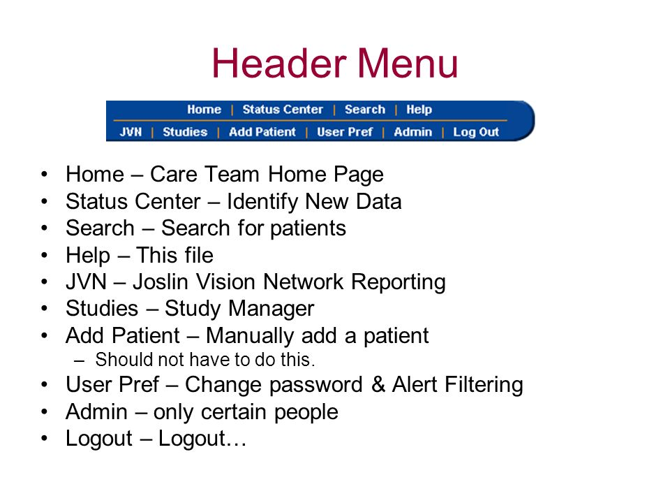 Header Menu Home – Care Team Home Page