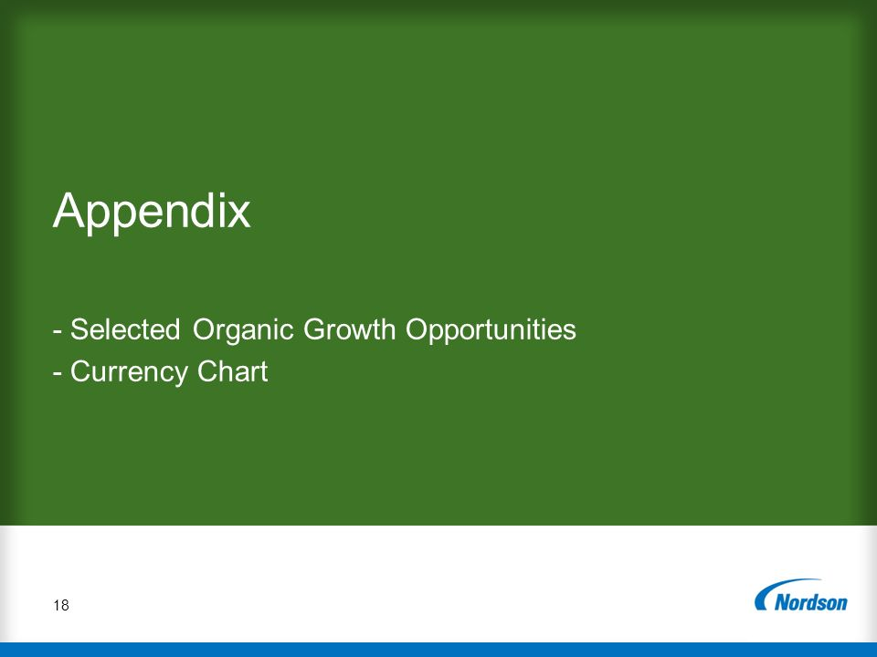 - Selected Organic Growth Opportunities - Currency Chart