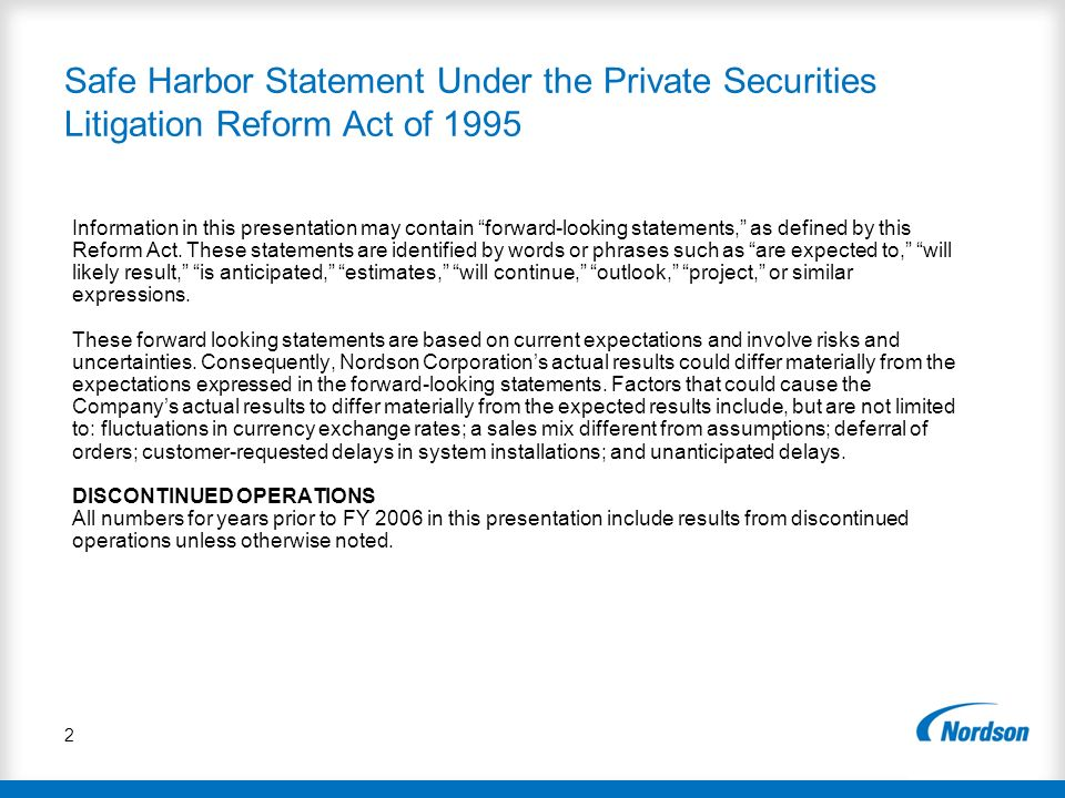 Safe Harbor Statement Under the Private Securities Litigation Reform Act of 1995