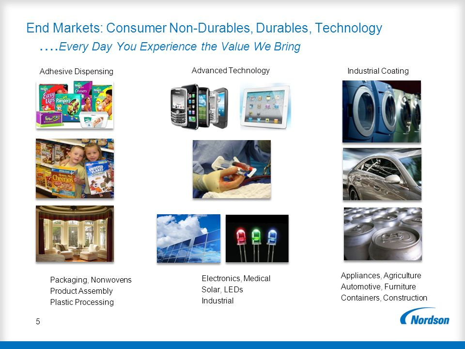 End Markets: Consumer Non-Durables, Durables, Technology …
