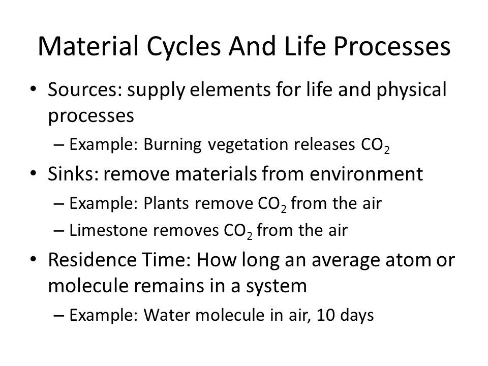 Material Cycles And Life Processes