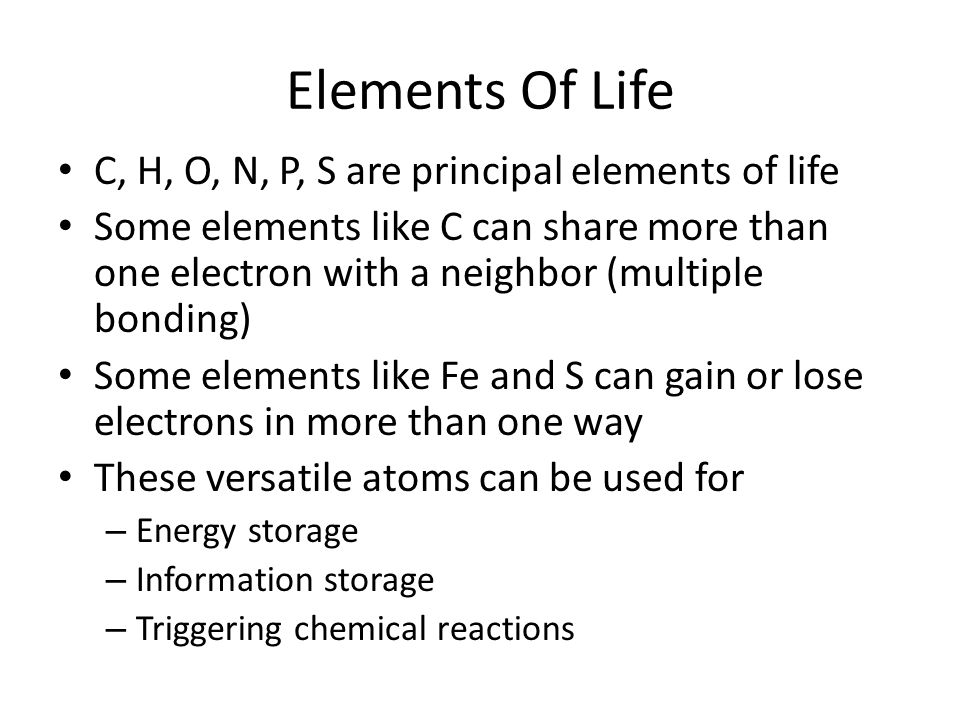 Elements Of Life C, H, O, N, P, S are principal elements of life