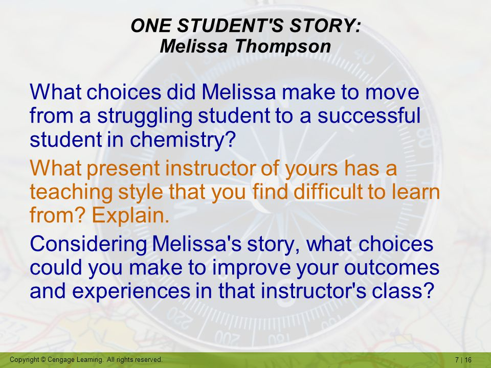 ONE STUDENT S STORY: Melissa Thompson