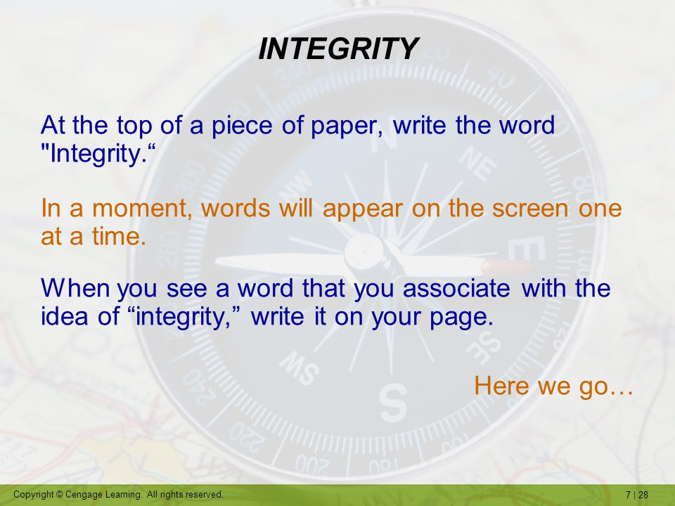 INTEGRITY At the top of a piece of paper, write the word Integrity.