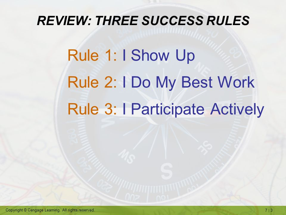 REVIEW: THREE SUCCESS RULES