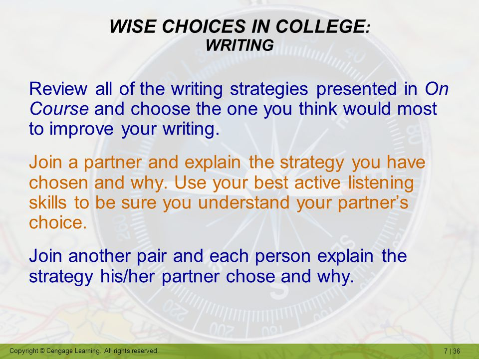 WISE CHOICES IN COLLEGE: WRITING