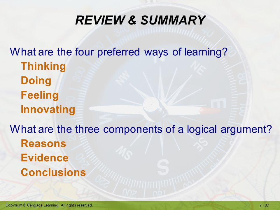 REVIEW & SUMMARY What are the four preferred ways of learning