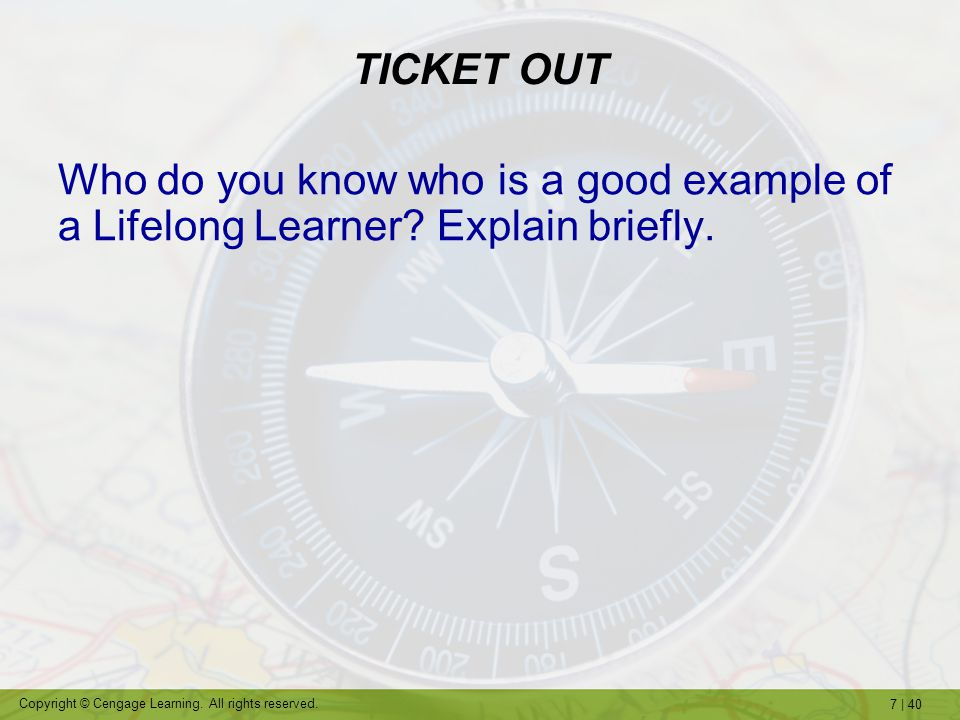 TICKET OUT Who do you know who is a good example of a Lifelong Learner Explain briefly.