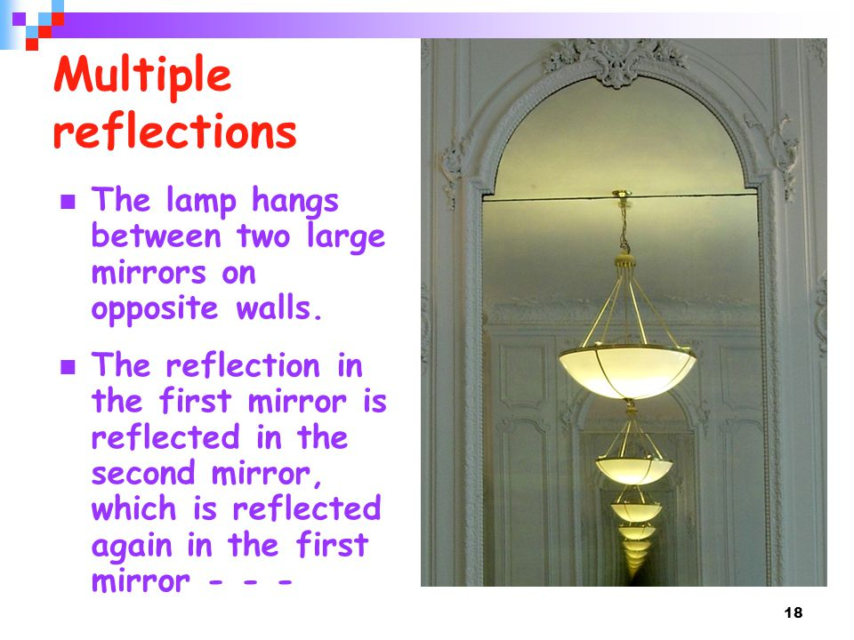 Multiple reflections The lamp hangs between two large mirrors on opposite walls.