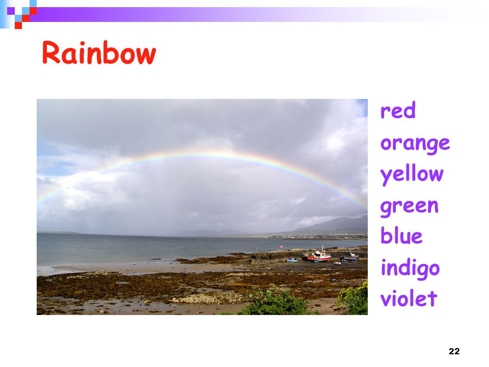 Rainbow red orange yellow green blue indigo violet
