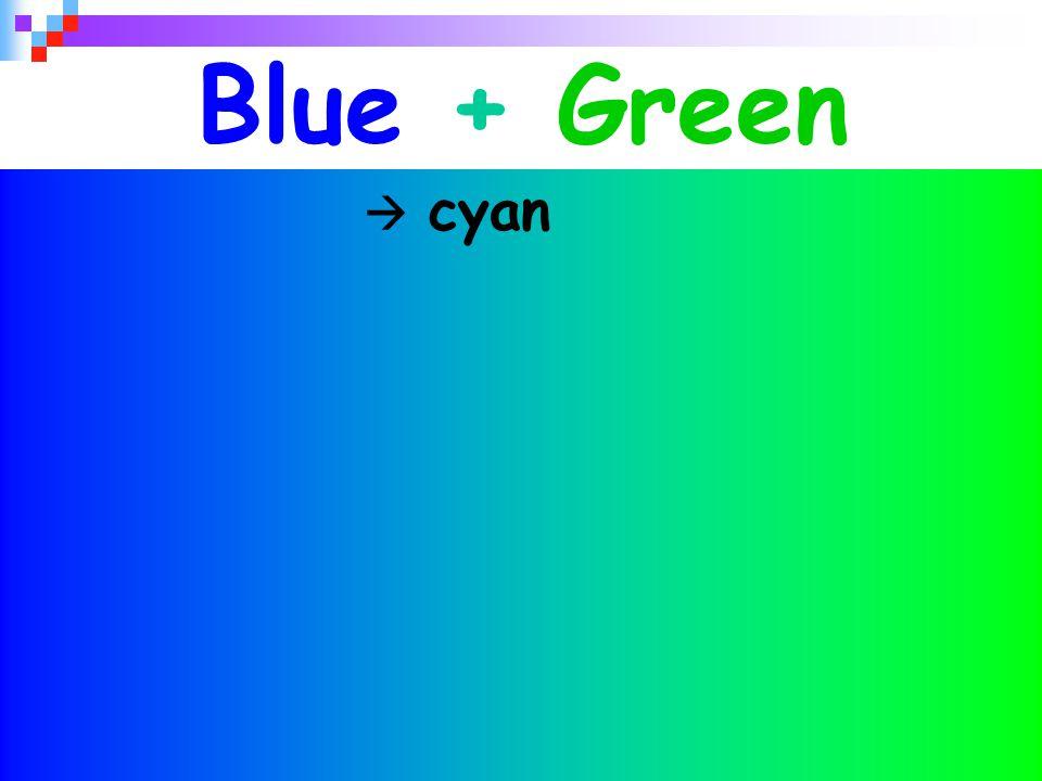 Blue + Green  cyan